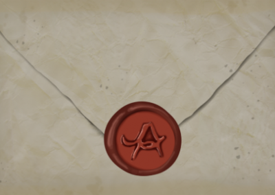 antique envelope with wax seal A